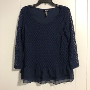 Style & Co Blue Long Sleeve Top Size Small